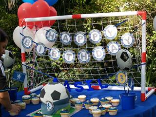 Kids soccer party birthday banner hassle free kids party for Amusement park decoration games